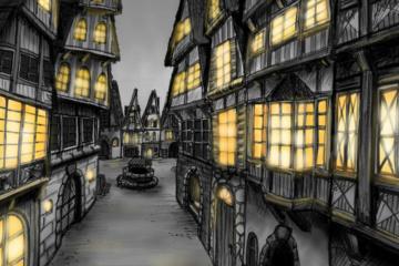 Zeichnung Fachwerkhäuser mit Beleuchtung