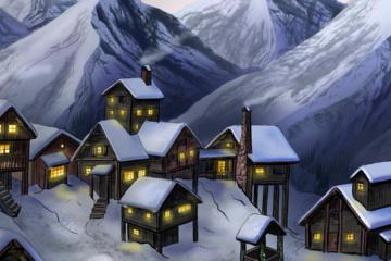 Bergdorf im Schnee Illustration