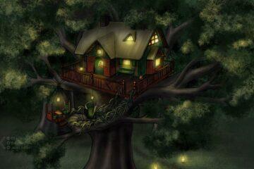 Fantasyillustration Baumhaus